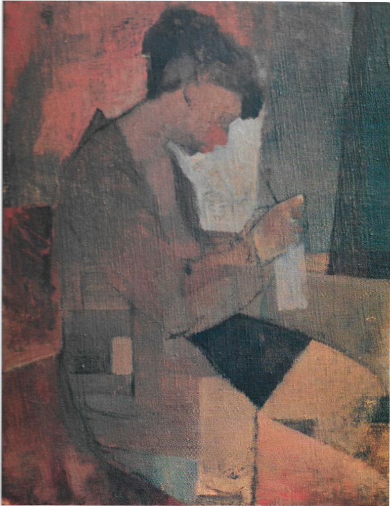 Donna che fa la maglia, 45x35 – Olio