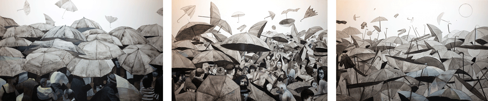 Libertà, trittico, 45x100 – Olio