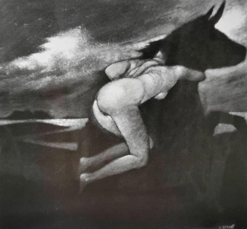 Il minotauro, 40x40 cm - Olio e acrilico su tela, 2012